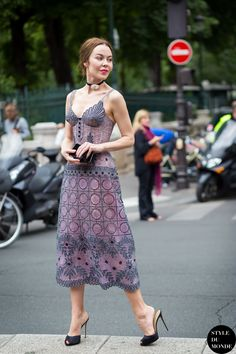 Ulyana Sergeenko: Feminine and Quirky Street Style ... quirky dress with choker