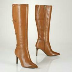 "Ralph Lauren Leather Boots Gorgeous cognac boots with a 3.75"" stacked heel, 16.25"" shaft, and 16.5"" circumference. Ralph Lauren Shoes Heeled Boots"