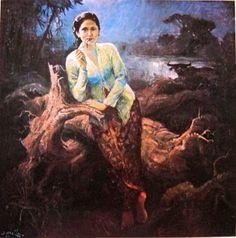 Gadis dibawah purnama ,Basuki Abdullah Indonesian Art, Art Archive, The 5th Of November, Wallpaper Pictures, Past Life, Fantasy Art, Indie, Colours, History