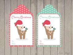 Kerst cadeau label  hert van SophiesLoveBirds op Etsy
