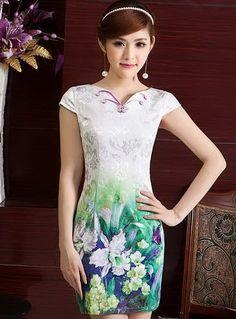 Elegant Cotton Flowers Print V Collar Modern Bodycon Chinese Qipao Dress - iDreamMart.com