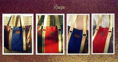 Bolso de cuero charolado, gamuzado azul y colorado, más cuero dorado - Raiza Handbags
