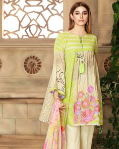 End This Summer Season with Elegant Chartreuse Printed Lawn Collection. Price: For purchase of the dress, please visit www. Stylish Dresses For Girls, Stylish Dress Designs, Frocks For Girls, Simple Dresses, Casual Dresses, Short Dresses, Dresses Dresses, Simple Pakistani Dresses, Pakistani Dress Design