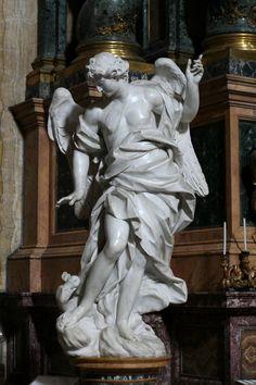 """Angels"" (c.1748), Sculpted by Pietro Bracci (1700–1773), 1 of 2 sculptured angels, Collegio Romano e St. Ignatius, Rome, Italy. #angels"