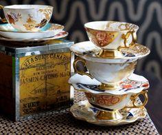 Delightful gold-trimmed teacups.