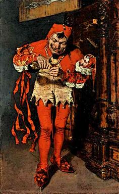 Medieval Jester Drinking for Confidence before a Royal Performance