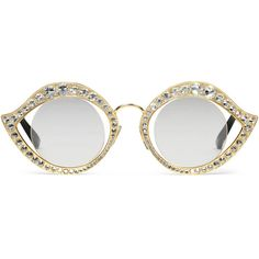Gucci Cat Eye Metal Glasses With Crystals ($830) ❤ liked on Polyvore featuring accessories, eyewear, sunglasses, glasses, gold, women, cat eye sunglasses, cat-eye sunglasses, cat sunglasses and see through glasses