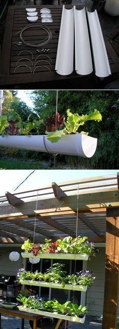 DIY Outdoor Vertical Garden DIY Hanging Gutter Garden; i ACTUALLY LIKE THE PATIO COVER ON THIS PROJECT. #verticalfarming