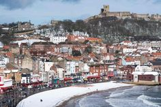 Snow covers the beach in the sea side resort of Scarborough in North Yorkshire Bbc Weather, Cold Weather, Sea Side, Meteorology, North Yorkshire, Winter Christmas, Snow, Adventure, Wales