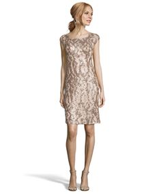 Sue Wong Champagne Sequined Illusion Neck Sheath Dress