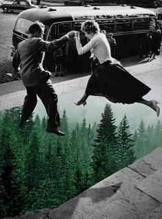 Merve Ozaslan realizza collage con le vecchie foto in bianco e nero Collage Foto, Collage Kunst, Art Du Collage, Surreal Collage, Collage Artists, Digital Collage, Photo Collages, Digital Art, Nature Collage