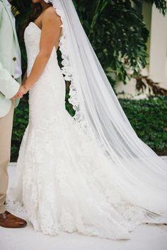 Gorgeous dress and veil: http://www.stylemepretty.com/destination-weddings/2015/05/18/colorful-puerto-vallarta-destination-wedding/   Photography: Sarah McKenzie - http://www.sarahmckenziephoto.com/