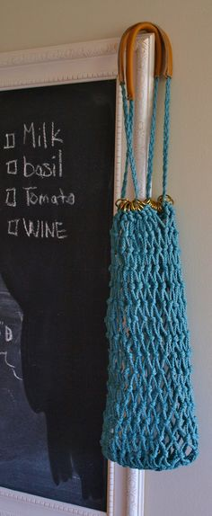 Antique Teal Macrame Market Bag. Love the metal loops that the drawstring goes through.