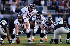 . Peyton Manning (18) of the Denver Broncos calls plays from the line in the first quarter. The Denver Broncos played the Carolina Panthers in Super Bowl 50 at Levi\'s Stadium in Santa Clara, Calif. on February 7, 2016. (Photo by Joe Amon/The Denver Post)