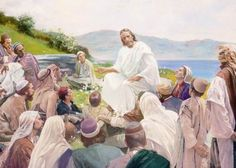 Jesus teaching to his disciples Sermon on the Mount ... could be in the foothills of NC