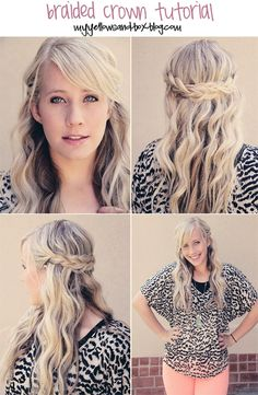 EASY tutorial.  No french braiding required. ideas for Carolines hair.