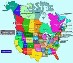 USA States and Canada Provinces - Map and Info