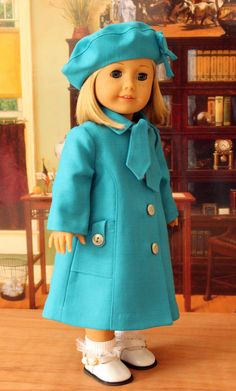 Linen Coat and Hat for American Girl Doll. This was a wonderful surprise from a most dear person. The coat and hat are in blue linen of a turquoise color and fully lined. Just adorable and SO appreciated! Thank you!! ;-)
