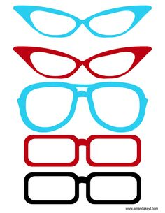 Glasses from 50s Red Printable Photo Booth Prop Set