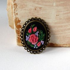 Hand embroidered brooch. by EmbroideredJewerly on Etsy