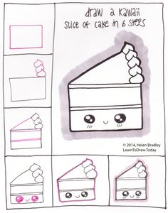 Draw Kawaii Style Cake in 6 Steps