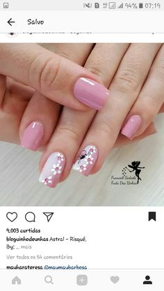 130 cute spring nail art designs to spruce up your next mani page 39 130 cute spring nail art designs to spruce up your next mani page 39 nageldesign blumen Cute Spring Nails, Spring Nail Colors, Spring Nail Art, Summer Nails, Stylish Nails, Trendy Nails, Toe Nails, Pink Nails, Nagel Gel