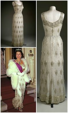 Evening dress, by Sir Norman Hartnell, 1963. Silk tulle, silk, bugle beads, crystals. Worn by H.M. Queen Elizabeth II to a State Banquet at the Belgian Embassy in London in 1963. Photos of the dress: Royal Collection Trust. Photo of Queen Elizabeth leaving the banquet, via the Royal Family Around the World Blog. CLICK THROUGH FOR LARGER IMAGES.