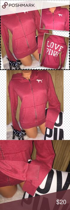 "VS PINK full zip hoodie MEDIUM VS Victoria's Secret PINK full zip hoodie  Color: red with white rear back letters and the pup on chest is white kangaroo pocket  19""chest 22""length. Sz Medium tts  Pre owned in good condition no holes or stains.. no hoodie drawstring-does show minimal fade/ piling  from washing. The sleeve cuff area shows light fading/ piling Smoke/pet free. ❤️gladly Bundle. No trades. No holds PINK Victoria's Secret Sweaters Crew & Scoop Necks"