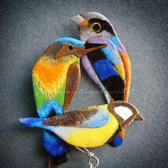 enameled copper birds -handmade jewelry by Justyna Krupkowska http://justynakrupkowska.blogspot.com/