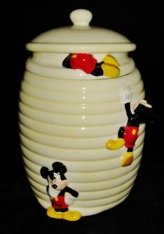 Disney Mickey Mouse Bee Hive Ceramic Cookie Jar