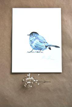 Watercolor Painting Original Painting Catbird Bird by WoodPigeon