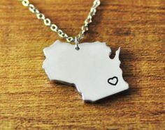 I heart Wisconsin map Necklace, custom map Pendant,Personalized alloy necklace,State Charm Jewelry, 925 Sterling Silver map necklace