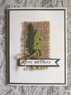 Greeting card handmade green and white burlap tree pine Masculine Birthday Cards, Birthday Cards For Men, Handmade Birthday Cards, Greeting Cards Handmade, Cards For Men Handmade, Beautiful Handmade Cards, Masculine Cards, Homemade Christmas Cards, Christmas Cards To Make