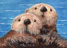 ACEO TW JUL Original Painting Sea Otters marine animal mom pup wildlife ocean #Impressionism