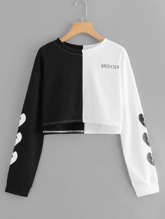 To find out about the Color Block Crop Sweatshirt at SHEIN, part of our latest Sweatshirts ready to shop online today! Girls Fashion Clothes, Teen Fashion Outfits, Girl Fashion, Casual Outfits, Sweatshirts Online, Hoodies, Jugend Mode Outfits, Mode Kpop, Aesthetic Clothes