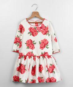 Look at this #zulilyfind! White Rose Dress - Toddler & Girls by Beebay #zulilyfinds
