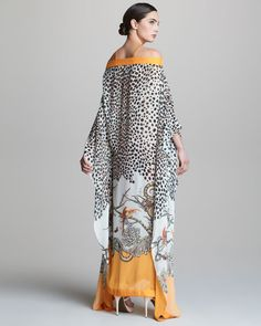 Long Printed Cold-Shoulder Caftan