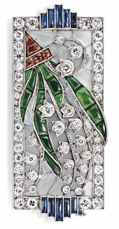 Art Deco -  Jade, diamante e citrino - Broche de formato retangular, montado em platina, com diamantes, safiras, jades e citrinos, com a marca de ensaio francês, cerca de 1915.