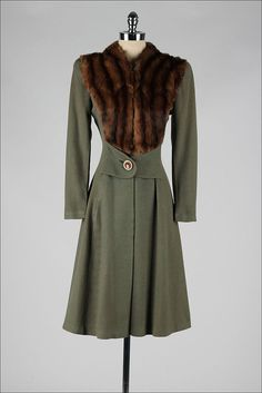 ➳ vintage 1940s coat    * olive green wool gabardine  * fur trim  * silk crepe lining  * hook/eye closures in front  * attached button belt  *