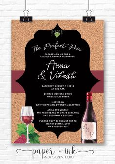 Perfect Pairing Wine Invitation Bridal Shower Couples Shower