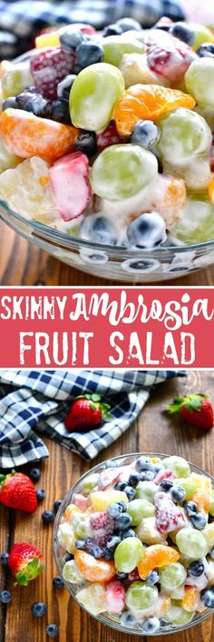 This Skinny Ambrosia Fruit Salad combines 5 types of fruit with a sweetened Gree. - Banana This Skinny Ambrosia Fruit Salad combines 5 types of frui Best Fruit Salad, Fruit Salad Recipes, Yogurt Fruit Salad, Fruit Fruit, Recipes With Fruit And Vegetables, Fresh Fruit Desserts, Fruit Salad With Yogurt, Jello Salads, Dessert Recipes