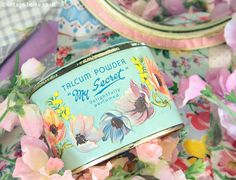 Vintage Home - Gorgeous Anemones Vintage Talc Tin.
