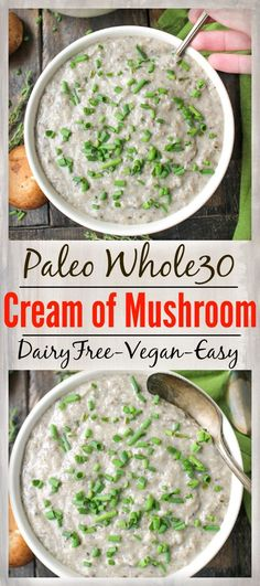 Healthy Cream of Mushroom- paleo, Whole30, and vegan! So easy to make and no weird ingredients. So delicious!