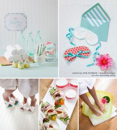 spa party with girl friends. I love everything about this Spa Party! From the invitations to the homemade sea salt scrubs and flip flops! Girls Pamper Party, Kids Spa Party, Spa Birthday Parties, Slumber Parties, Teen Parties, Teen Birthday, Arbonne Party, Pyjamas Party, Holiday Parties
