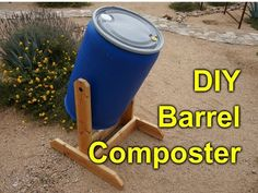 How to make A compost tumbler from a pickle or water barrel. A compost tumbler allows you to prepare dark, rich, nutrient-dense compost for your garden using. Compost Barrel, Garden Compost, Veg Garden, Garden Club, Garden Art, Homemade Compost Bin, Making A Compost Bin, Diy Compost Bin, Compost Bin Tumbler