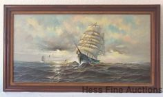 Huge Original Signed Preston Willis Maritime Naval Clipper Ships Oil Painting