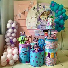 Birthday Party Themes, 2nd Birthday, Monster Inc Birthday, Gold Party Decorations, Baby E, Children, Kids, Baby Shower, Places