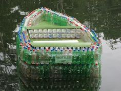 Lazy River Run!  Bottles up; amazing boat made from recycled materials.