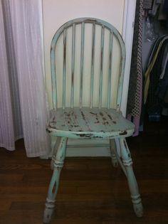 Cottage Distressed Pale Aqua and White Chair by FleaMarketPosh, $40.00