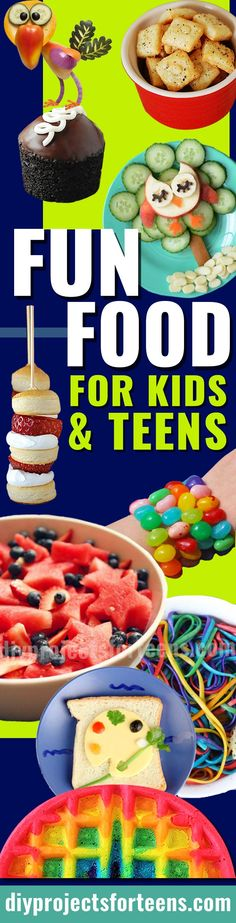 34 Fun Foods for Kids and Teens | Boys and Girls, Toddlers, Tweens and Teenagers all love these Easy Recipe Ideas - So Do Adults!  via @diyprojectteens Easy Meals For Kids, Kids Meals, Diy Projects For Teens, Diy For Teens, Teen Diy, Good Food, Yummy Food, Fun Food, Birthday Party For Teens